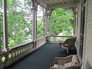 The upstairs porch from where Patricia viewed Chautauqua