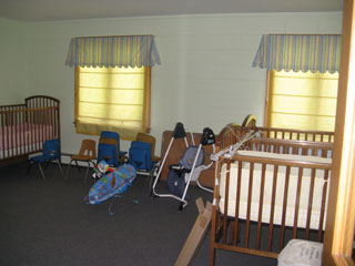 The cribs in the nursery where Karen didn't want to sleep.